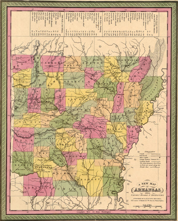 Arkansas State 1849 Historic Map by S. Augustus Mitchell, Reprint
