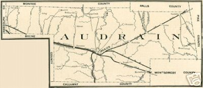 Early map of Audrain County, Missouri including Mexico, Laddonia, Vandalia, Rush Hill, Farber and more