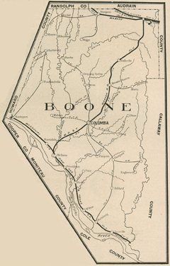 Early map of Boone County, Missouri including Columbia, Centralia, Rocheport, Hallsville, Harrisburg, Ashland