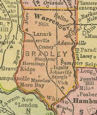 Early map of Bradley County Arkansas including, Warren, Hermitage, Banks, Moro Bay, Marsden, Johnsville