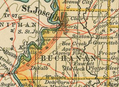 Early map of Buchanan County, Missouri including St. Joseph, DeKalb, Clair, Easton, Faucett, Rushville, Agency