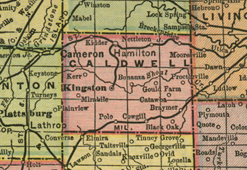 Early map of Caldwell county, Missouri including Kingston, Hamilton, Polo, Braymer, Breckenridge, Mirabile, Blackoak