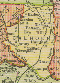 Early map of Calhoun County, Arkansas including Hampton, Harlow, Benson, Ralford, Tinsman, Bab, Dob