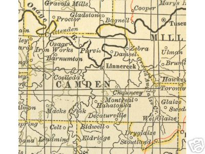 Early map of Camden County, Missouri including Linn Creek, Hahatonka, Climax Springs, Macks Creek, Zebra, Osage Iron Works