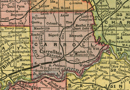 Early map of Carroll County, Missouri including Carrollton, Norborne, Bosworth, DeWitt, Bowdry, Coloma, Bogard