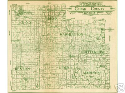Early map of Cedar County, Missouri including Stockton, Eldorado Springs, Jerico Springs, Caplinger Mills, Cedar Springs