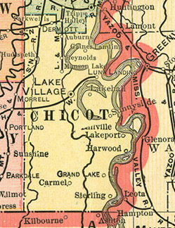 Early map Chicot County, Arkansas History and Genealogy with Lake Village, Eudora, Dermott, Hudspeth, Cosgrove, Empire, Lakeport, Gaines Landing