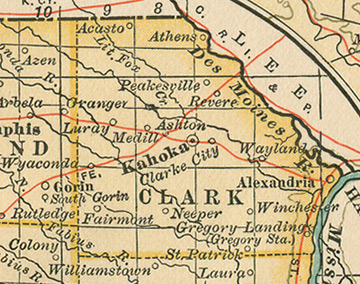 Early map of Clark County, Missouri with Kahoka, Wyaconda, Alexandria, Luray, Revere, St. Patrick, Winchester, St. Francisville, Fairmont