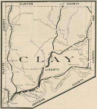 Early map of Clay County, Missouri including Liberty, Excelsior Springs, Kearney, Smithville, Holt, Missouri City