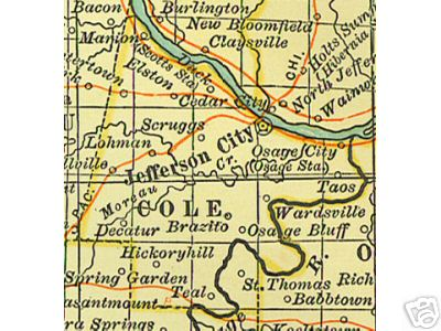 Early map of Cole County, Missouri including Jefferson City, Osage City, Russellville, Lohman, Taos, Wardsville,