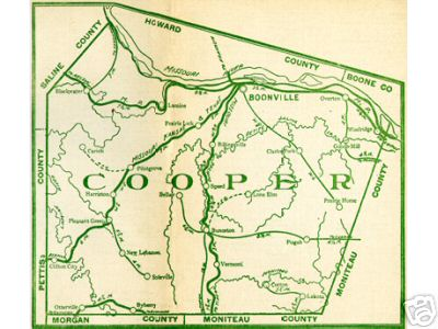 Early map of Cooper County, Missouri Boonville, Pilot Grove, Bunceton, Otterville, Blackwater, Lamine, Pleasant Green
