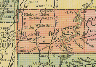 Early map of Cross County, Arkansas including Wynne, Parkin, Vanndale, Hickory Ridge, Cherry Valley, Crowley History Genealogy