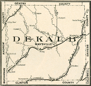 Early map of Dekalb County, Missouri with Maysville, Stewartsville, Union Star, Clarksdale, Amity, Bayfield, Boxford, Fairport, Gridley, Orchid, Osborn, Santa Rosa, Weatherby, Winslow