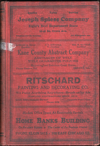Evans' Elgin City Directory, 1933-34, Kane County, Illinois,  book