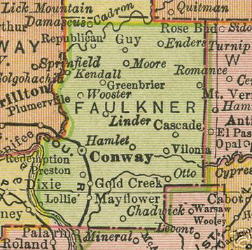 Early map of Faulkner County, Arkansas including Conway, Linder, Greenbrier, Wooster, Mayflower, Vilonia, Enola