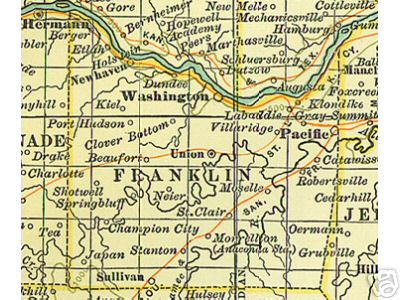 Early map of Franklin County, Missouri including, Union, Washington, Sullivan, Pacific, New Haven, Stanton, St. Clair,
