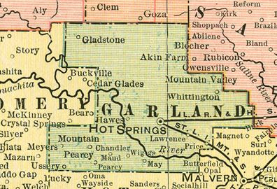 Early map of Garland County, Arkansas including Hot Springs, Pearcy, May, Whittington, Gladstone, Lawrence