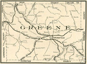 Early map of Greene County, Missouri including Springfield, Republic, Strafford, Willard, Ash Grove, Walnut Grove, Turner,