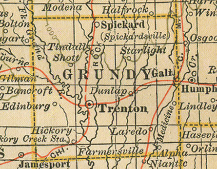 Early map of Grundy County, Missouri with Trenton, Laredo, Galt, Spickard, Brimson, Tindall, Alpha, Buttsville, Edinburg, Lindley, Shott
