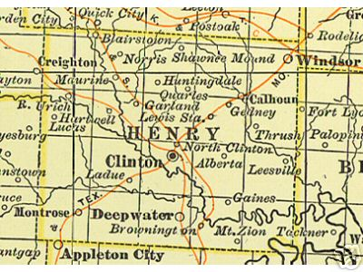 Early map of Henry County, Missouri including Clinton, Windsor, Deepwater, Montrose, Urich, Ladue, Brownington, Calhoun, Blairstown