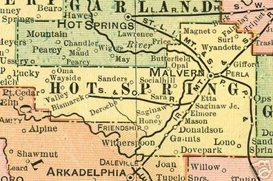 Early map of Hot Spring, Arkansas including Malvern, Butterfield, Gifford, Donaldson, Social Hill, Friendship