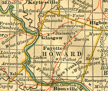 Early map of Howard County, Missouri including Fayette, Glasgow, Armstrong, Franklin, New Franklin, Boonesboro, Steinmetz