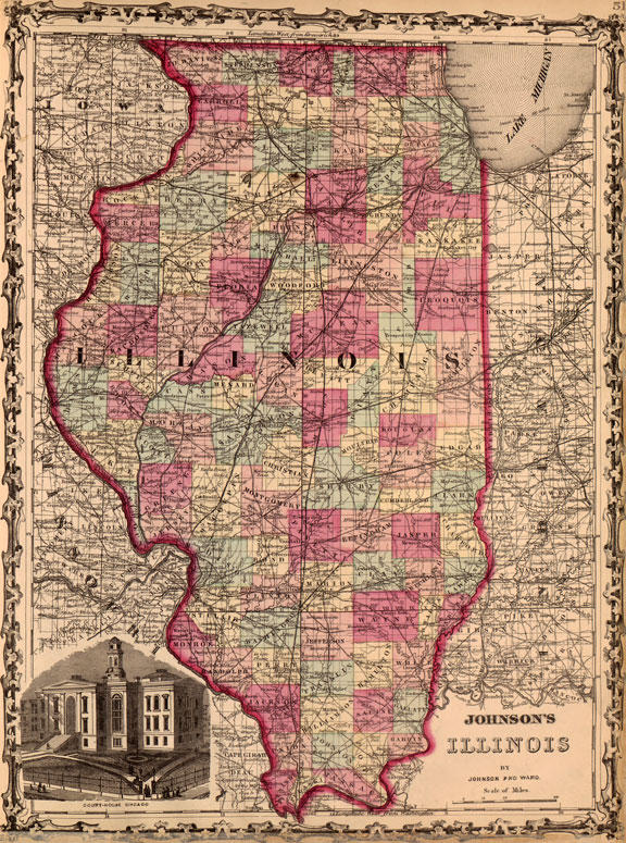 Illinois State 1862 Historic Map Johnson & Ward Reprint