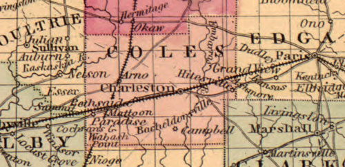 Illinois State 1862 Historic Map Johnson & Ward detail