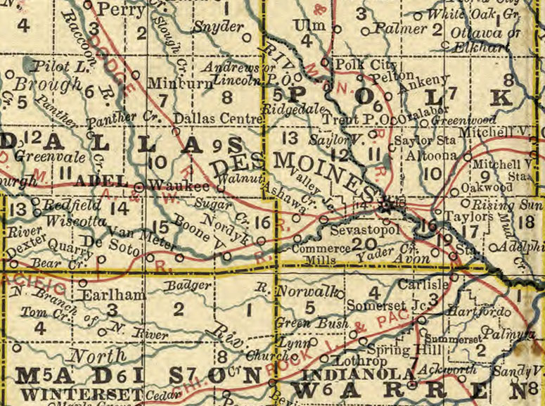 Iowa State 1881 by Rand McNally Historic Map detail