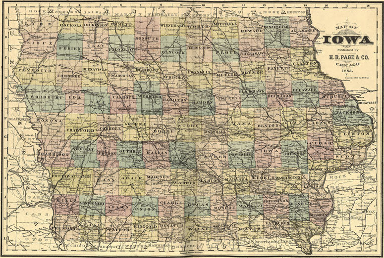 Iowa State H. R. Page 1885 Historic Map Reprint