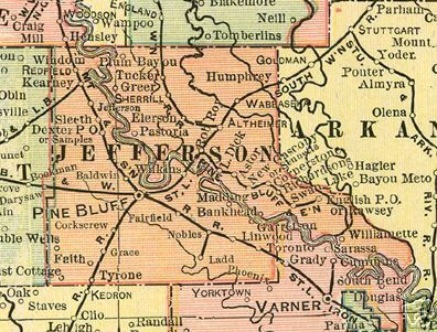 Early map of Jefferson County, Arkansas including Pine Bluff, Redfield, Sherrill, Altheimer, Wabbaseka, Tyrone