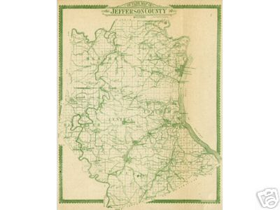 Early map of Jefferson County, Missouri including DeSoto, Hillsboro, Festus, Crystal City, Cedar Hill, Kimmswick, House Springs