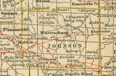 Early map of Johnson County, Missouri including Warrensburg, Knobknoster, Columbus, Chilhowee, Holden, Kingsville, Montserrat