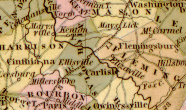 Kentucky State 1839 Historic Map by Tanner, detail