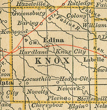 Early map of Knox County, Missouri including Edina, Hurdland, Knox City, Newark, Baring, Novelty, Plevna, Locust Hill, Kenwood, Hedge City, Colony, Millport