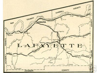 Early map of Lafayette County, Missouri including Lexington, Higginsville, Concordia, Odessa, Waverly, Dover, Bates City, Mayview, Corder, Wellington