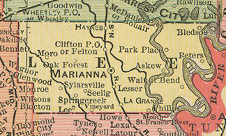 Early map of Lee county, Arkansas including Marianna, Haynes, Moro, La Grange, Park Place, Clifton, Oak Forest, History, Genealogy