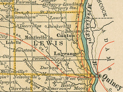 Early map of Lewis County, Missouri with Canton, La Belle, Lewistown, La Grange, Ewing, Monticello, Durham, Steffenwood, Maywood, LaBelle, LaGrange