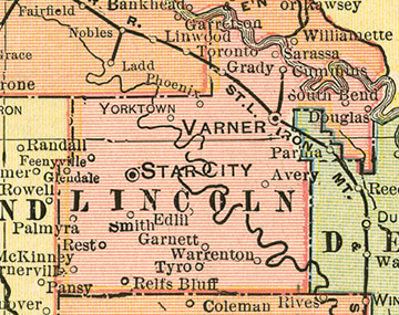 Early map of Lincoln County, Arkansas with Star City, Varner, Tyro, Gould, Grady, Relfs Bluff, Cornerville, Douglas, Edlil, Garnett, Palmyra, Phenix, Rest