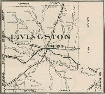 Early map if Livingston County Missouri including Chillicothe, Utica, Chula, Wheeling, Avalon, Dawn, Ludlow, Mooresville
