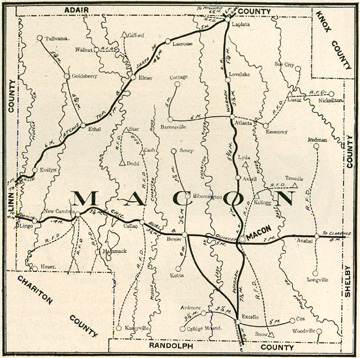 Early map of Macin County, Missouri with Macon, La Plata, Bevier, Callao, New Cambria, Elmer, Ethel, Atlanta, Excello, Ten Mile, Anabel, Sue City, Walnut, Redman, Cash, Barnesville