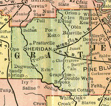 Early map of Grant County Arkansas including Sheridan, Belfast, Grapevine, and Prattsville.