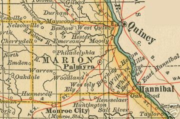 Early map of Marion County, Missouri including Hannibal, Palmyra, Philadelphia, West Quincy, Woodland, Warren