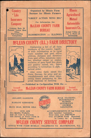 McLean County, Illinois Farm Directory, 1929,  book