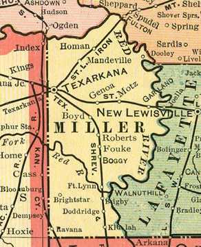 Early map of Miller County, Arkansas including Texarkana, Fouke, Brightstar (Bright Star), Garland, Mandeville, Doddridge, Ft. Lynn, Motz, Genoa, Homan