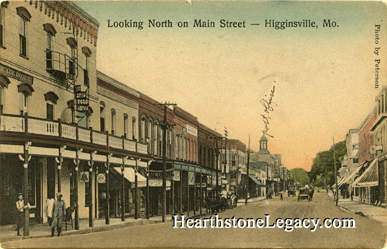 Early postcard view of Higginsville, Missouri Main Street in Lafayette County, MO