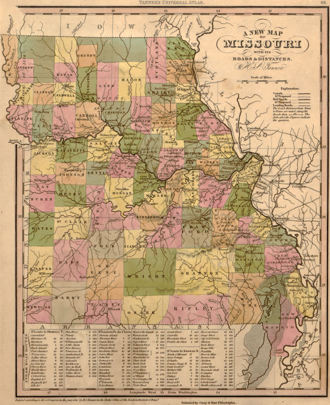 Lincoln County Divorce Records: Missouri State 1841 Historic Map By H. S. Tanner, Reprint