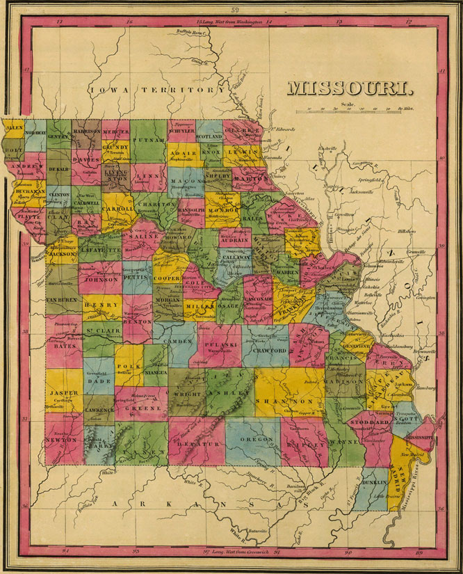 Missouri State 1845 Historic Map by H. S. Tanner