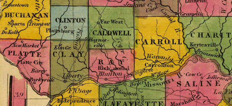 Detail of Missouri State 1845 Historic Map by H. S. Tanner