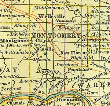 Early map of Montgomery County, Missouri including Montgomery City, Wellsville, Danville, Bellflower, New Florence, Americus, McKittrick